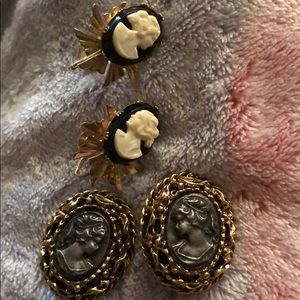 Jewelry - 2 pairs clip on cameo earrings